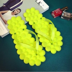 2017 Fashion Candy Color Flip Flops Cute Little Fresh Bubble Shoes Summer Beach Sandals yellow 36