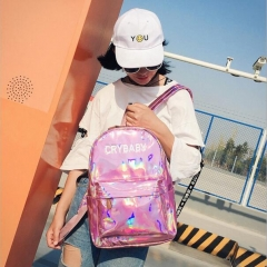 Fashion Women Laser Leather Backpack Hologram Holographic School Bookbag Tote black 0.44kg