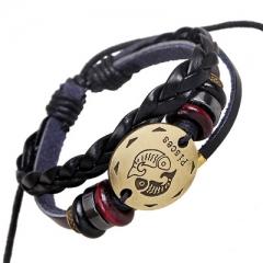 Personality Bracelet Handwoven String Bracelet Pisces Constellation Bracelet Punk Leather colorful one size