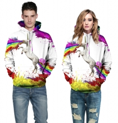 Rainbow horse Design 3D Digital Printed Hooded fleece  Baseball Jacket Fashion  for Women and Men colorful s/m