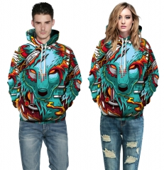 wolves Design 3D Digital Printed Hooded fleece  Jacket Fashion  for Women and Men colorful s/m