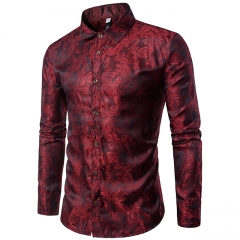 Autumn and winter new fashion embroidery pattern men's casual long sleeve lapel shirt Red wine S