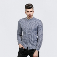 Men 's Shirt Fashion Simple Fine Grid Features Tanker Design Casual Men' s Long Sleeve Shirt navy m