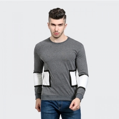 Men 's T - shirt fashion pattern stitching men' s casual round neck long - sleeved T - shirt gray m