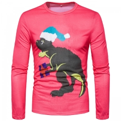 Men's fashion animal 3D printing round neck long sleeve T-shirt red s