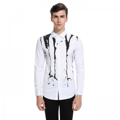 Men fashion long sleeve lapel shirt solid color inkjet printing bleached s