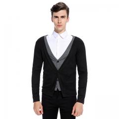 Men's fake two-piece long-sleeved V-neck sweater black s
