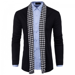 men's knitted cardigan personality in the long section of thousands of birds tide men's clothing black m