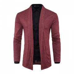 Men's fashion cardigan long-sleeved sweater solid color without buckle Red m