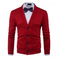Men 's sweater long - sleeved lapel solid color stitching red m