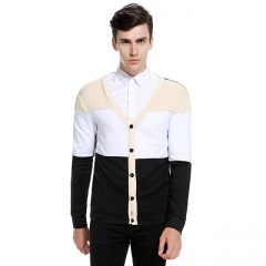 Men's sweater fashion popular hit color single-breasted jacket black s