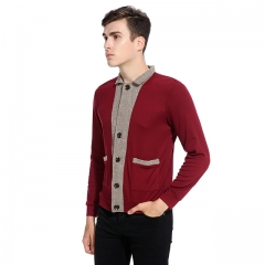 Men's classic placket cuffs blouse sweater wine red s