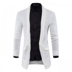 Men 's sweater knitted cardigan casual lapel big pocket long section white m