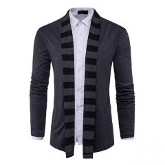 Men's cardigan sweater no buckle fashion long-sleeved sweater dark gray m