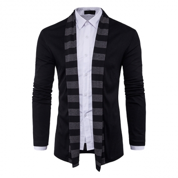 Men's cardigan sweater no buckle fashion long-sleeved sweater black m