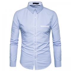 Men's fashion placket single-pocket long-sleeved lapel shirt light blue s