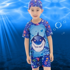 2-13Y Kids Boys Two Piece Swimsuit Summer Short Sleeve Swimwear shark M