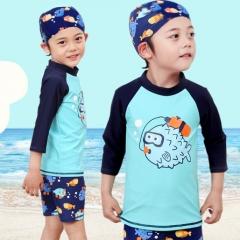 3-15Y Kids Boys Two Piece Swimsuit Swimwear Swim Trunks Rashguard as picture S