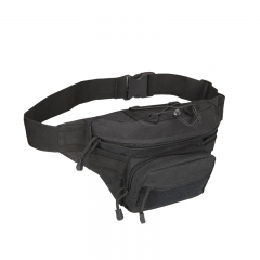 Military Men Waist Bags Canvas Waterproof Men Waist Pack Bag Camouflage Travel Bicycle Equipment  BLACK one size