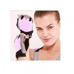 Women Sports Cycling Gloves Breathable Wearable Half Finger Riding Bicycle Anti-slip Gloves  pink S