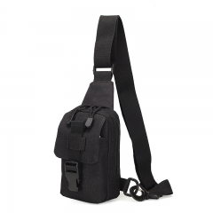 Nylon Waist Pack Belt Bag Men Military Chest Packs Camouflage Waist Bags Travel Mountain Climbing  BLACK one size