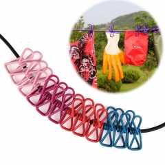 190CM Durable Travel Portable Elastic Clothesline Clips Hanger Drying Rack Clothes Hanging Rope Line COURFUL one size