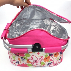 Outdoor Portable Lunch Picnic Bag Insulated Cooler Ice Bag Lunch Box Storage Bag Warmer Camping Kit  PINK one size