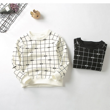 Children's Cotton Striped Sweater Baby's Printing Round Neck Long Sleeves Top Black 120