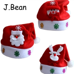 J.Bean Christmas Ornaments Adult Children's Brushed Fabric Christmas Hat One Color Style 01