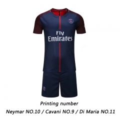 17-18 Paris Saint-Germain Neymar Cavani Di Maria Football jersey Soccer suit sportswear S size Neymar 10 Navy blue