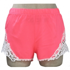 Sweet Elastic Waist Laced Shorts For Women XL PINK