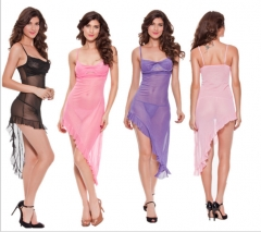 Women's Robes Ultra Sexy Suits Nightwear,Sexy Solid Polyester Long Dress Pink m