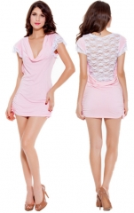 Women's Robes Ultra Sexy Suits Nightwear,Sexy Solid Polyester Pink Lace Sleepwear pink m
