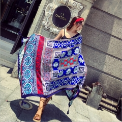 Sunproof large size ethnic cotton scarf cape shawl multifuntion for seaside desert tour blue