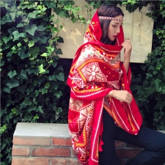 African Style Women Autumn Shawl Wrap Fashion Colorful Blanket Scarf red