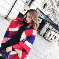 Warm Big Winter Scarf Women Elegant Grid Pattern Thick Scarf Collars as picture