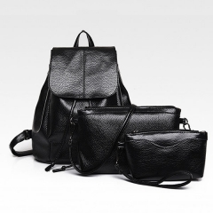Three Sets Of 2017 European Style Shoulder Bag Female Shoulder Bag Fashion PU Leather Backpack Black One  Size