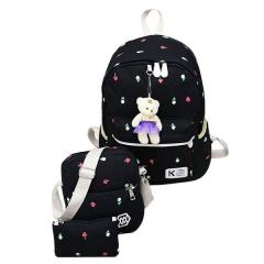 Four Sets Of 2017 New Bear Ornaments Shoulder Bag Handbags Shoulder Diagonal Canvas Bag Black One  Size