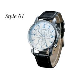 Sharer Leisure Blue Glass Male Watch Fashion Men Watch Three Belt Watch Style 01 One Size