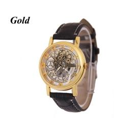 Sharer Fashion Casual Men's Watch High-Grade Leather Mechanical Watch Belt Male Watch Gold One Size