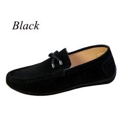 Sharer Casual Breathable Men's Solid Color PU Lightweight Wear-Resistant Fashion Men's Shoes Black EUR 39