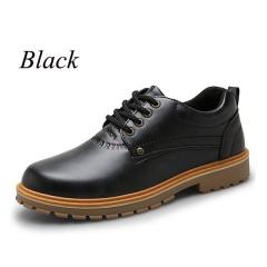 Sharer Men's Shoes Men's Casual Leather Shoes British Retro Jeans Men's Shoes Black EUR 39