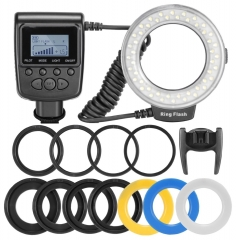 Neewer Macro LED Ring Flash RF550D for Nikon Canon DSLR Camera black 8 Adapter rings