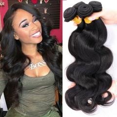 DIy wigs 7A Grade Hair brazilian virgin body wave human hair 100g/pc Natural Black Color BLACK 22IN