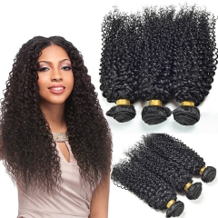 DIy wigs 7A Grade   brazilian kinky curly 100% Human Hair weave Bundles Natural color Hair weft black 8in