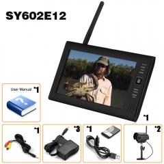 "7"" LCD DVR CCTV 2.4G Quad Wireless Home Security System Monitor 2IR Camera UK Plug black one size"