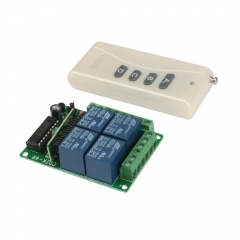 4 Channel 200M Wireless Remote Control Relay Switch Receiver DC 12V 10A EET