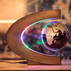 C shape LED World Map Decoration Magnetic Levitation Floating Globe black one size