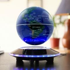 UFO Shape LED Light Home Decor Magnetic Levitation Floating Globe World Map blue one size