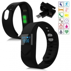 Bluetooth Smart Wrist Bracelet M5 Blood Pressure/Oxygen Watch for Android IOS 3 Colors U Pick black one size